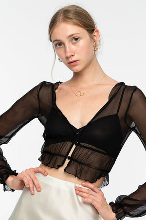Zena Silk Chiffon Top - Black