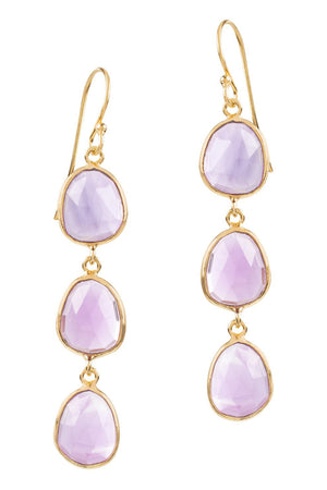 SOPHIA TRIPLE AMETHYST DANGLE EARRINGS