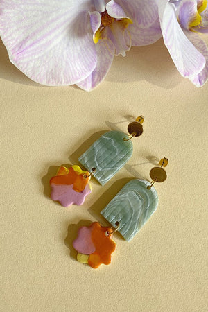 Arch Floret Earrings - Jade and Poppy