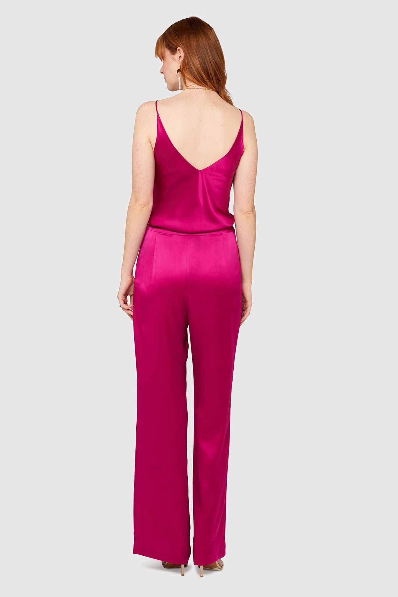 Cerise High Waisted Silk Lounge Pants