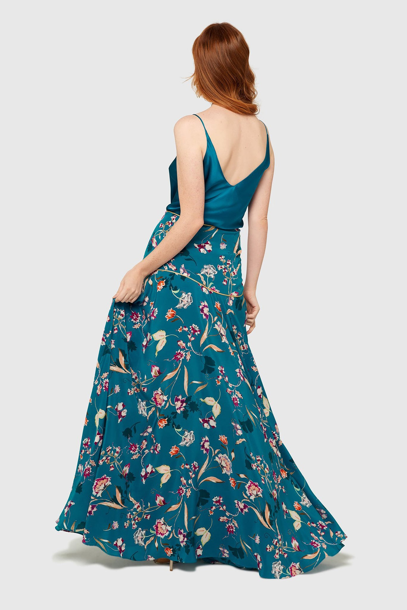 Peacock Bloom Maxi Skirt