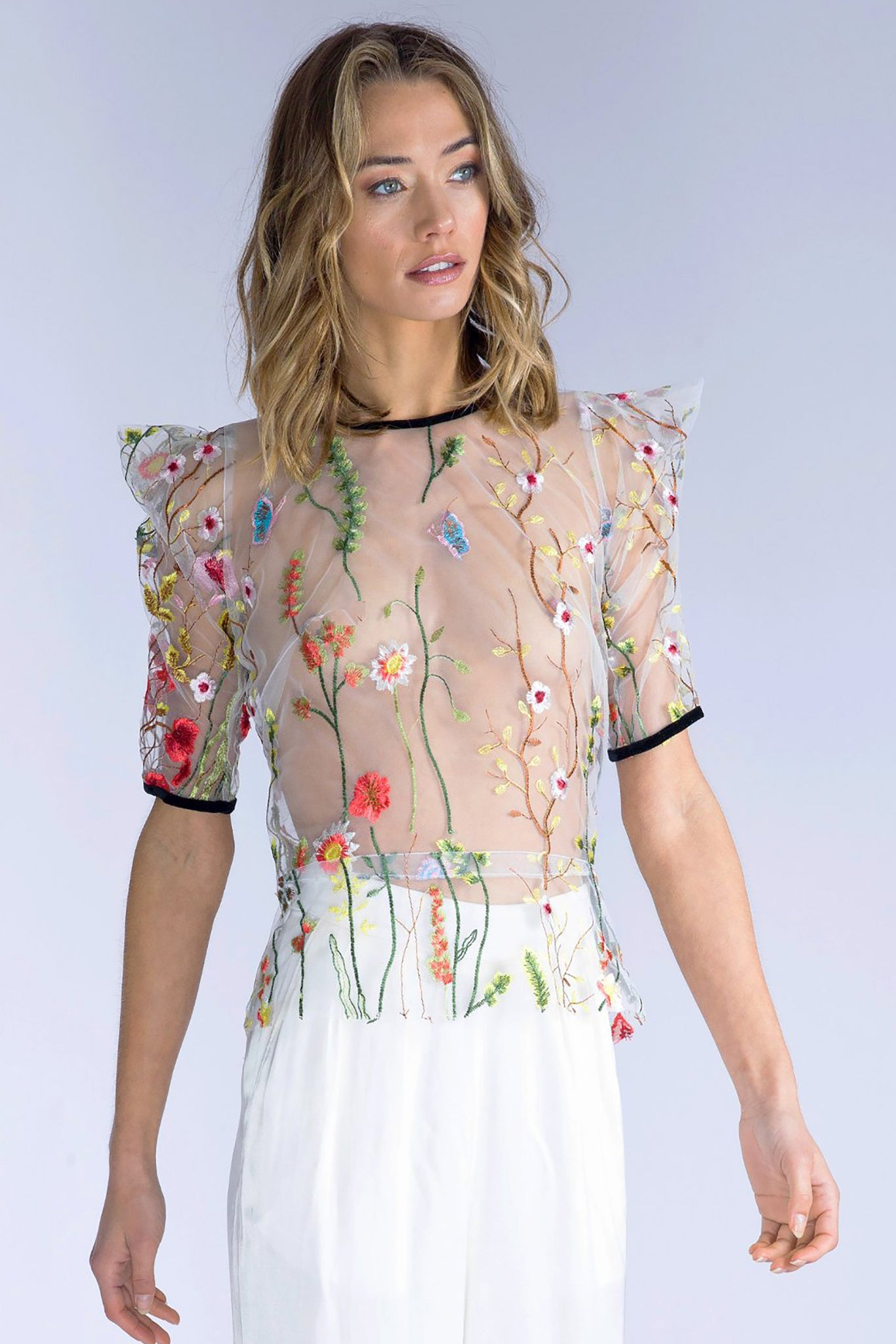 GENEVA Short Sleeve Embroidered Top