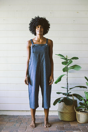Juniper Jumpsuit | Indigo Stripe | Organic Cotton Hemp