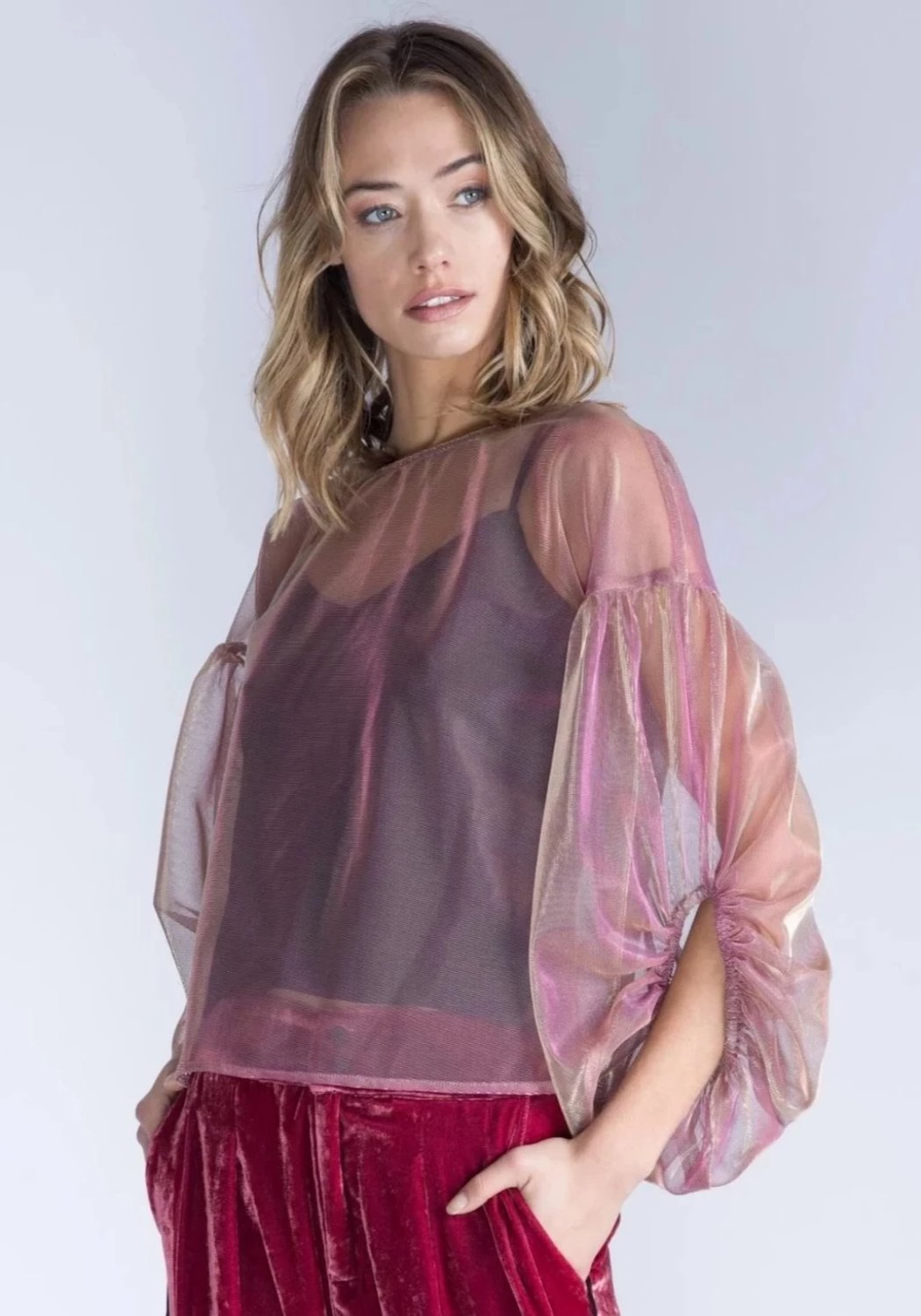OLENNA Metallic Rose Sheer Mesh Top