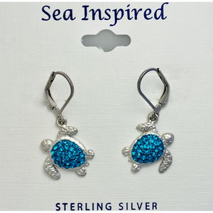 Large Crystal Turtle Earrings