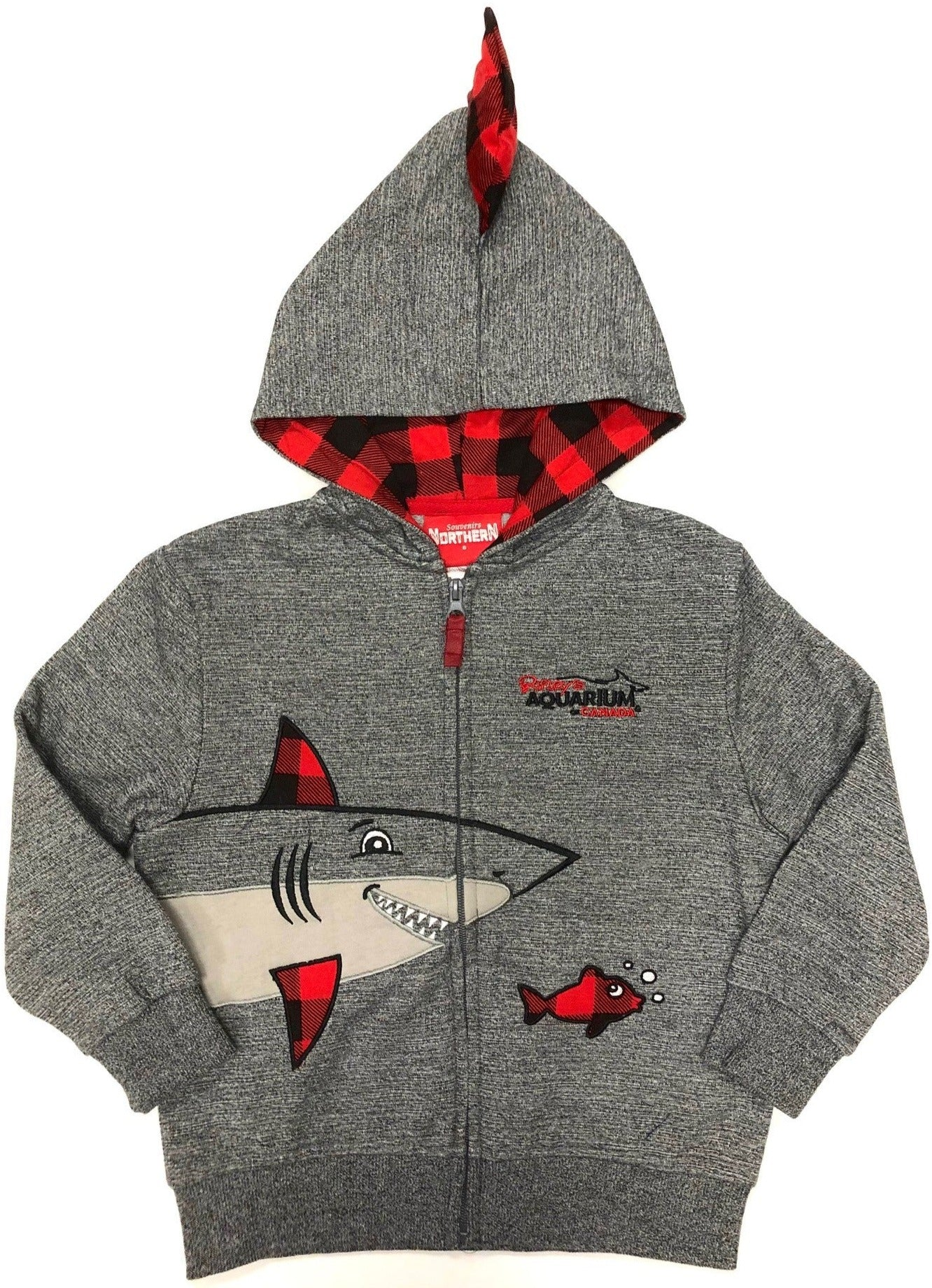 Kids Plaid Shark Zip Hoodie