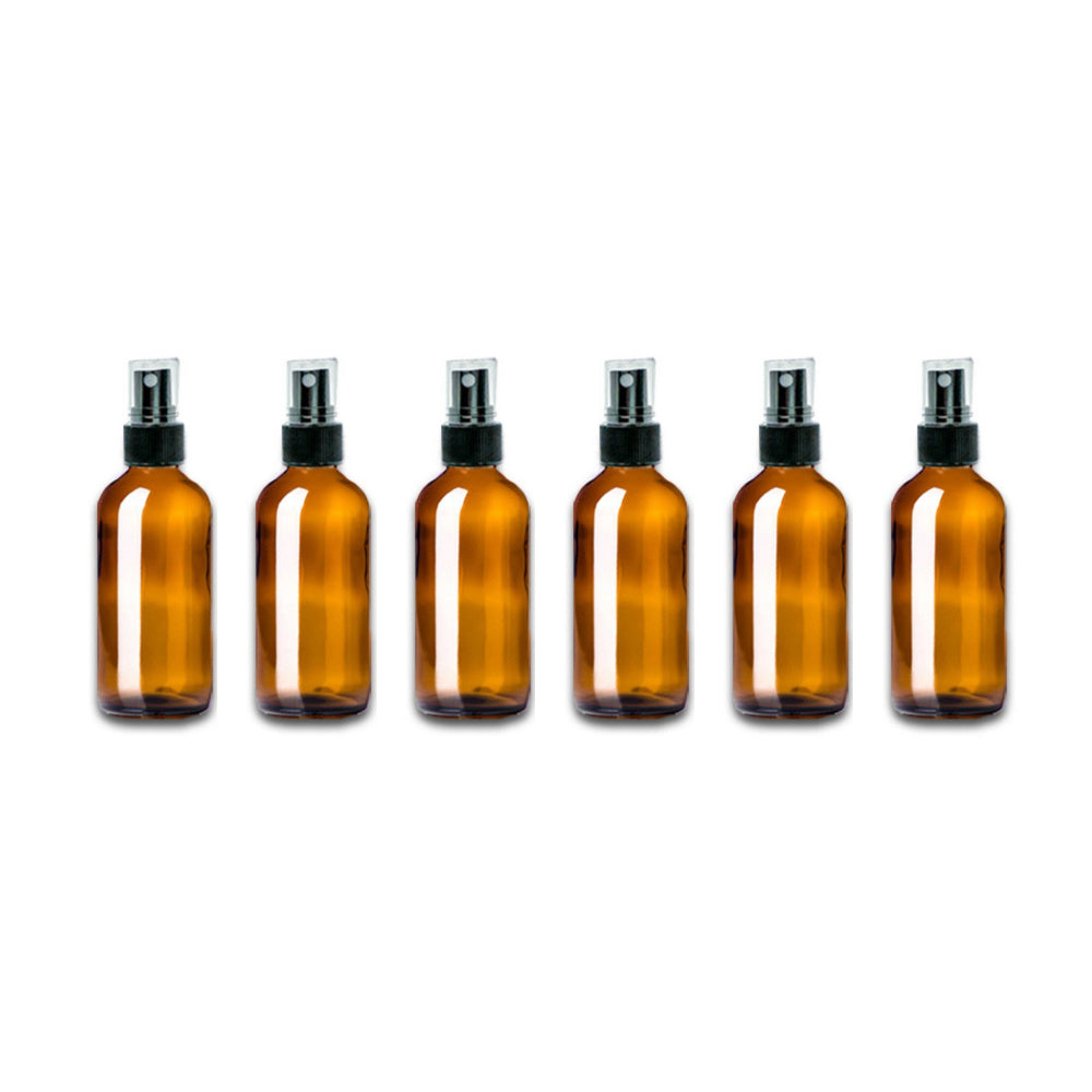 2 oz Amber Glass Bottle w/ Fine Mist Top (Pack of 6) - Essential Oil Magic