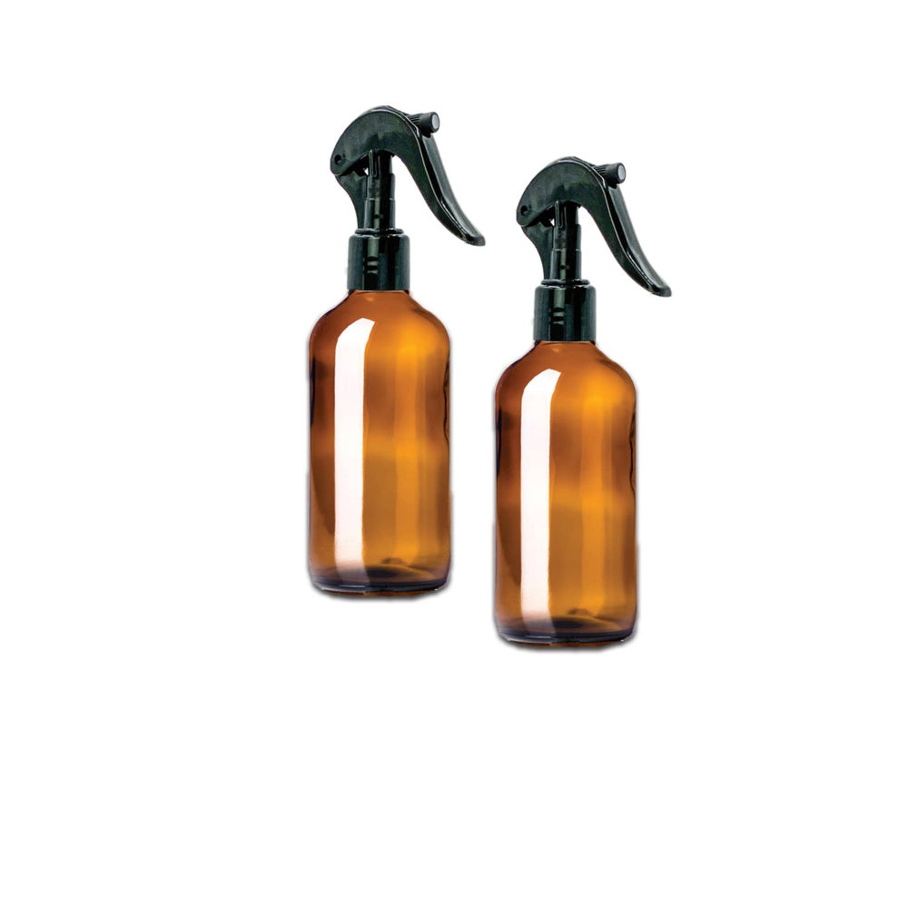 8 oz Amber Glass Bottle w/ Trigger Sprayer (Pack of 2) - Essential Oil Magic