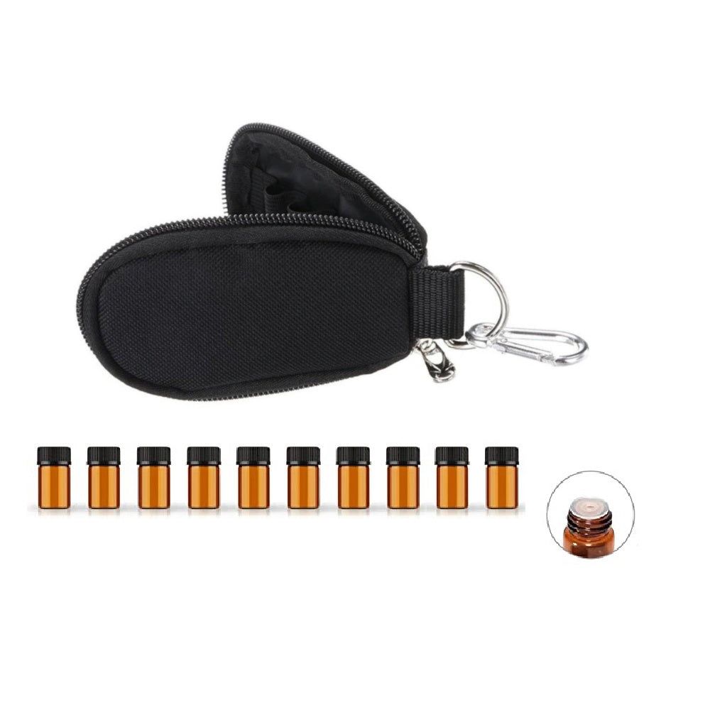 Neoprene Sample Vial Key Chain & 10 Drams (Black) - Essential Oil Magic