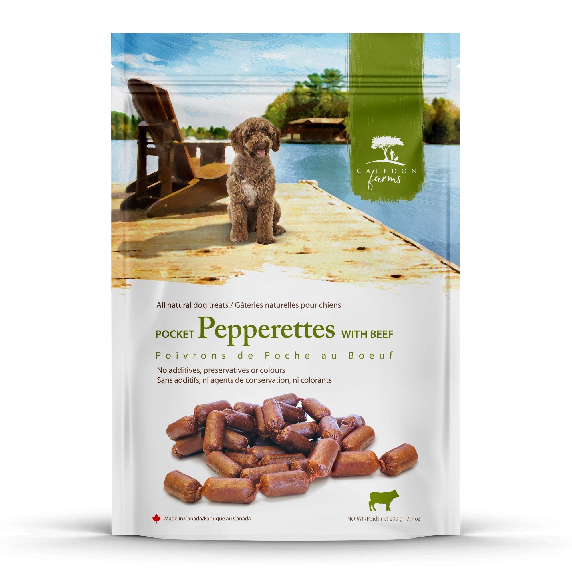 Beef Pepperettes Dog Treats Bag Front