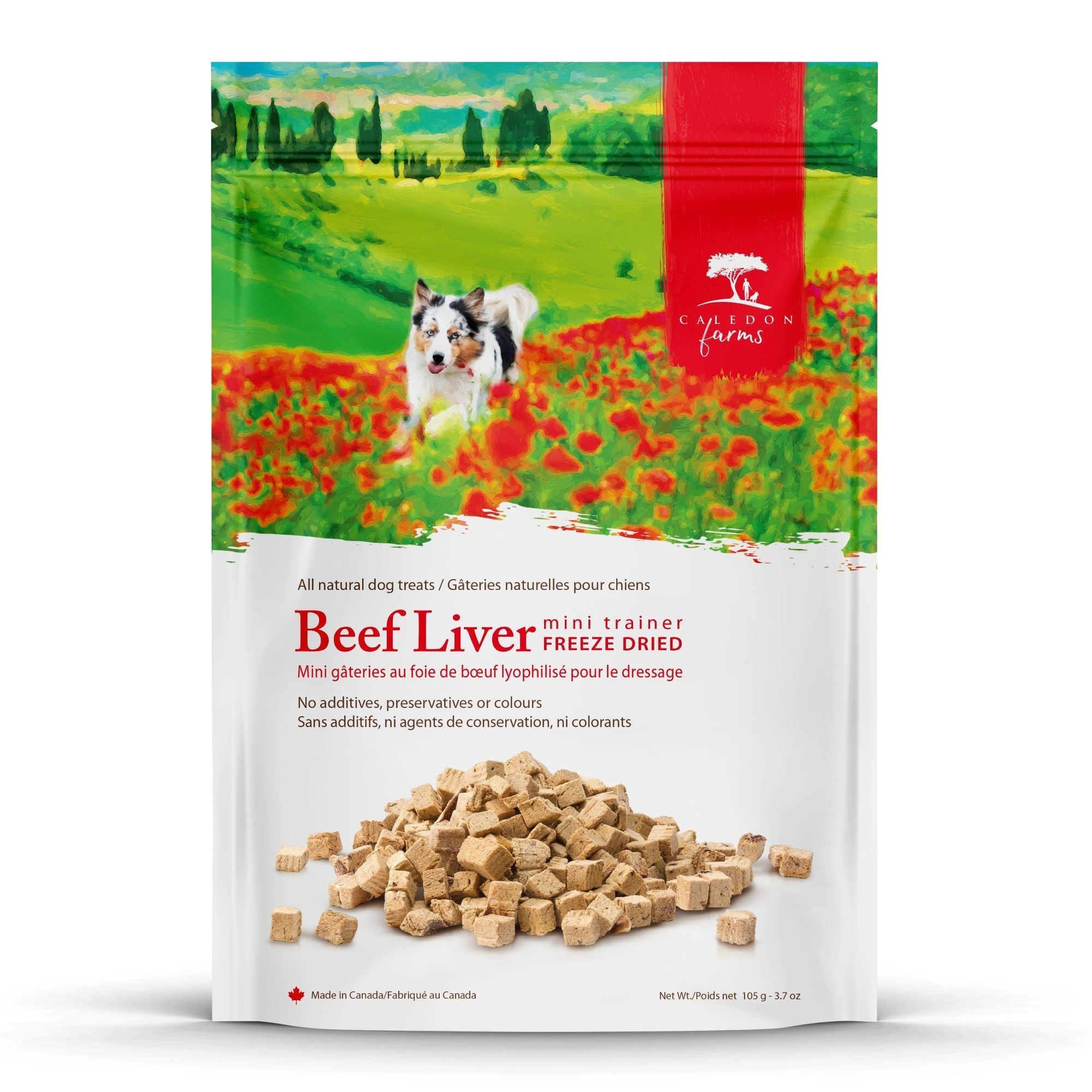 Freeze Dried Beef Liver Mini Trainers Dog Treats Back Front