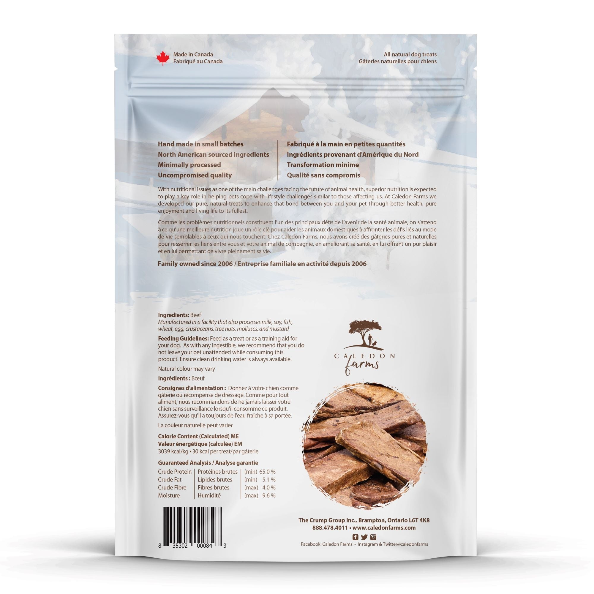 Beef Tendersticks Dog Treats Bag Back