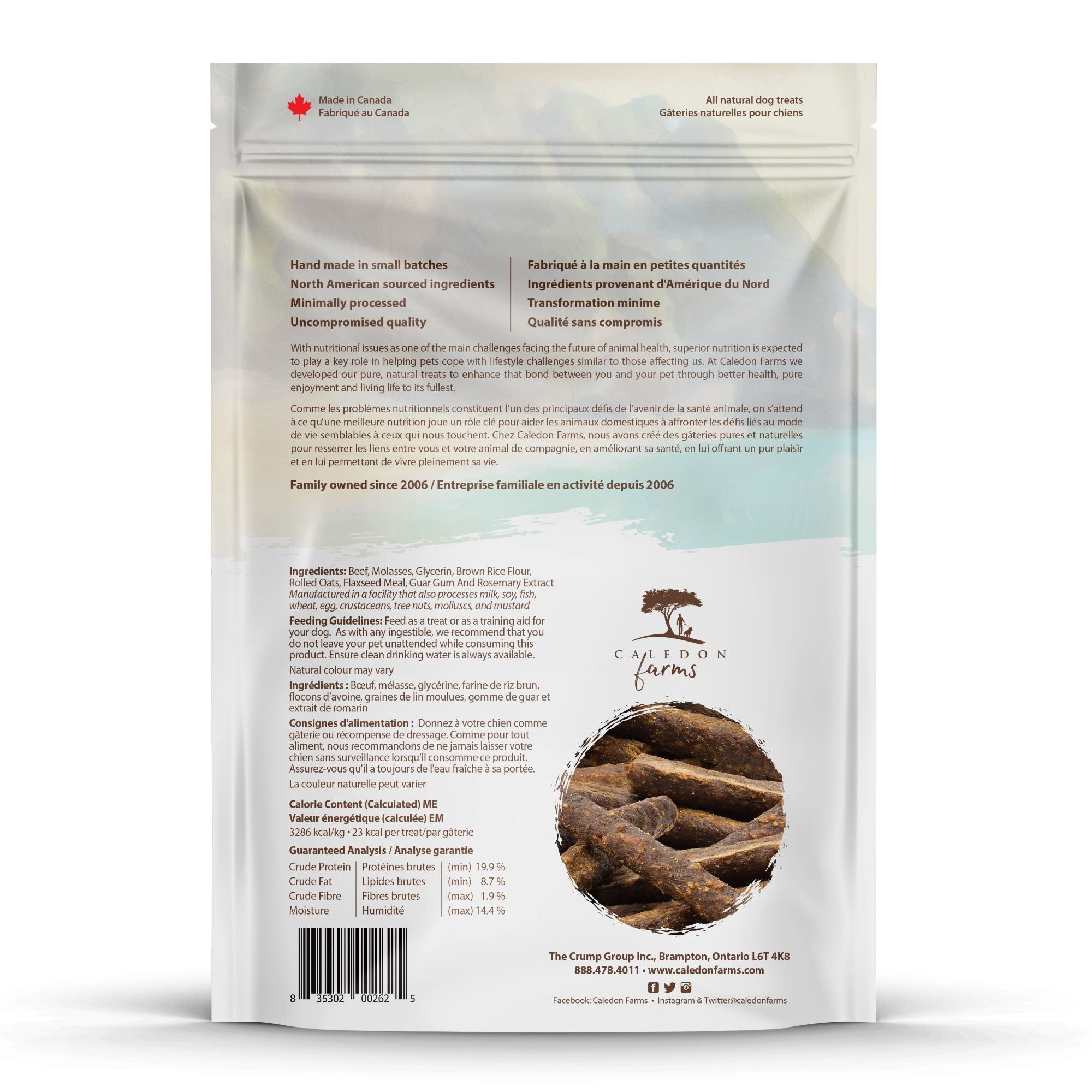 Chewy Beef Sticks Dog Treats Bag Back