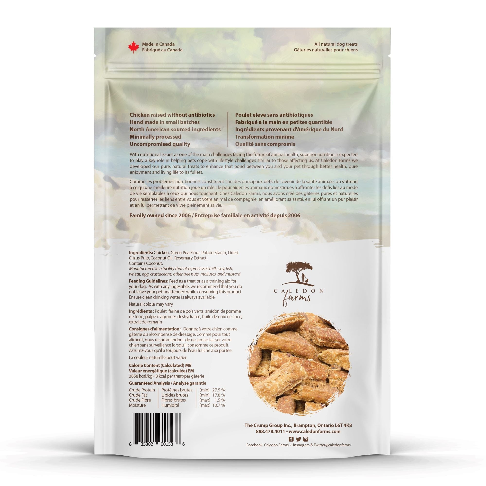 Chicken Snaps Mini Trainers Dog Treats Bag Back