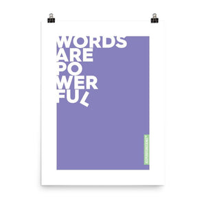 Purple Powerful Words Poster Size 24 x 36