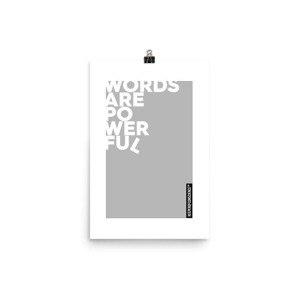 Grey Powerful Words Poster Size 12 x 18