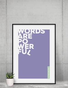 Framed Purple Powerful Words Poster in home
