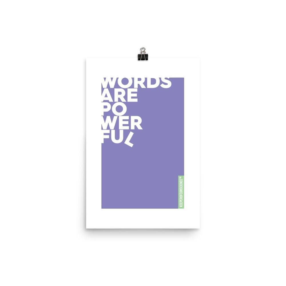 Purple Powerful Words Poster Size 12 x 18