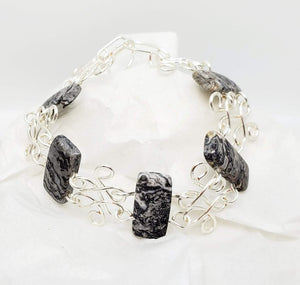 Double Drilled  Gem Stones and Artistic (Wig Jig) Wire Bracelet