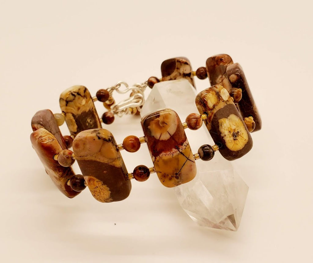 Love the color splashes of Bird's Eye Rhyolite! Such a fun bracelet to wear. You can't take your eyes off of it.