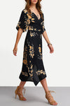 V-Neck Floral Print Wrap Dress in Midnight - 2 Love One