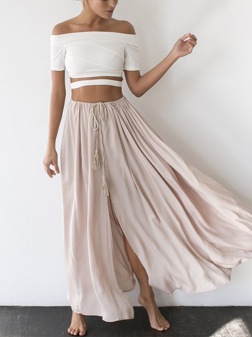 Against The Tides Maxi Skirt Nude | 2 Love One