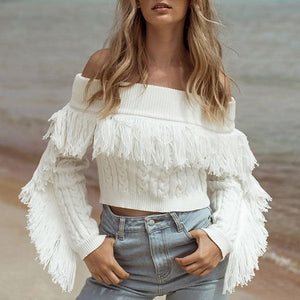 Amelia Tassels Off Shoulder Knit Top - 2 Love One