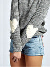 Anna White Heart Knit Sweater in Grey - 2 Love One