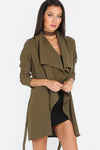 Lapel Tie Long Sleeve Outerwear In Army Green - 2 Love One