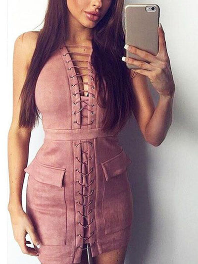 Artemis Lace Up Bodycon Dress in Pink - 2 Love One