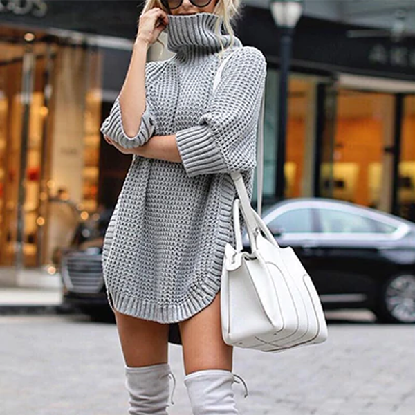 Autumn Half Sleeve Knit Sweater
