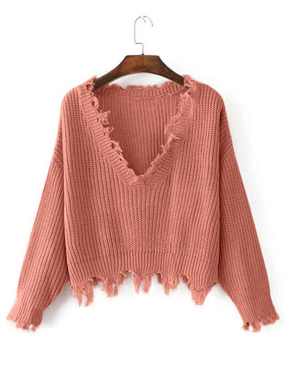 Ava Distressed Knit Top - 2 Love One