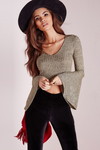Bell-Sleeve Ribbed Knit Crop Top in Khaki - 2 Love One
