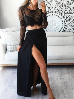 Black Lace Long Sleeve Dress - 2pcs - 2 Love One