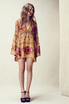 Boho Flare Sleeve Floral Tunic in Champagne - 2 Love One