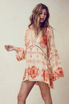 Boho Flare Sleeve Floral Tunic Pink - 2 Love One
