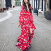 Boho White Floral Flowy Long Sleeve Dress - 2 Love One