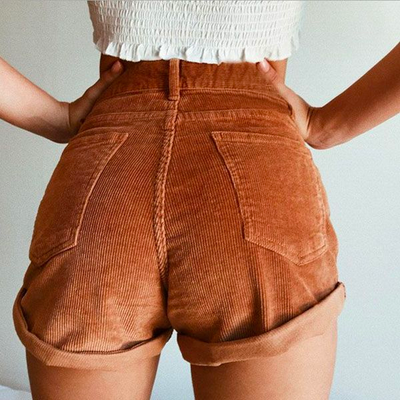 Brandi High-Waist Corduroy Shorts - 2 Love One
