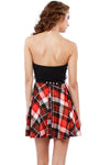 Plaid Flair Strapless Dress w/ Belt - 2 Love One