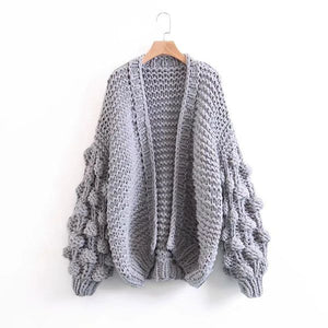 Caitlin Puff Sleeves Hand Knit Cardigan - 2 Love One