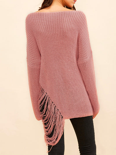 Cara Oversized Ripped Sweater in Pink - 2 Love One