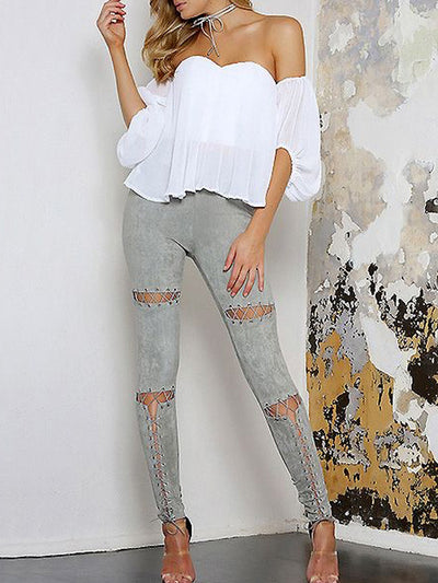 Chloe Lace Up Faux Suede Pants - 2 Love One