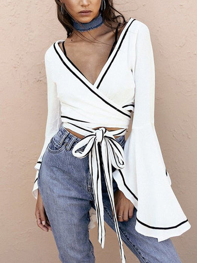 Chrissy Monochrome Wrap Crop Top - 2 Love One
