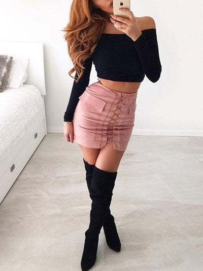 Ciara Criss Cross Skirt in Nude Pink - 2 Love One