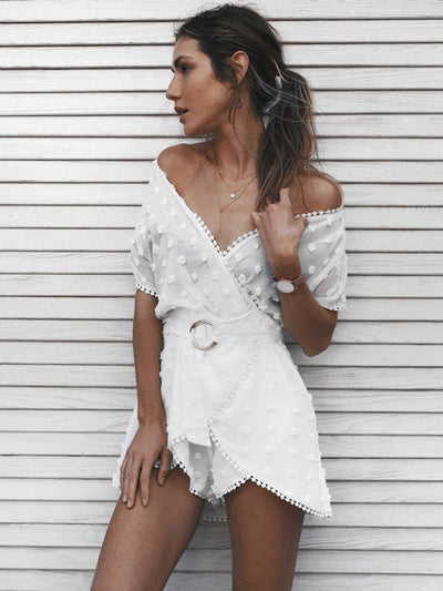 CinCin Chiffon Lace Playsuit in White - 2 Love One