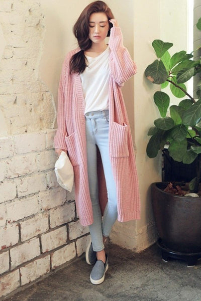 Cozy Long Knit Cardigan Soft Pink - 2 Love One