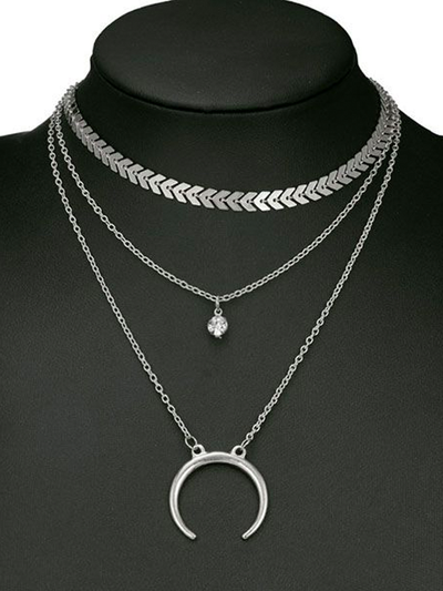Crescent Moon Layered Necklace Set - 2 Love One