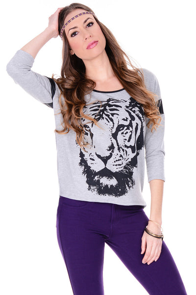 Tiger Leather Graphic Top - White - 2 Love One