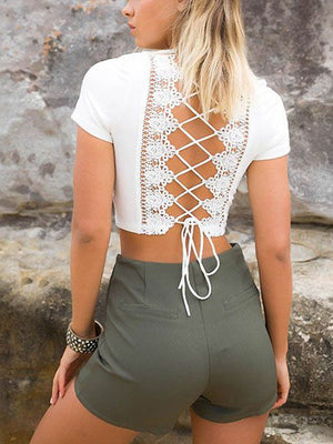 Devin Criss Cross Back Crop Top - 2 Love One