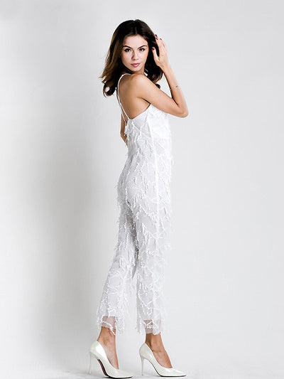Evelyn White Sequin Jumpsuit - 2 Love One